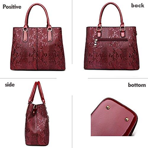 New Two Shoulder Red Handbag Crocodile Sdinaz Women's Handbag Pattern Fashion Messenger Purse Bag Wine Piece B1wHxU