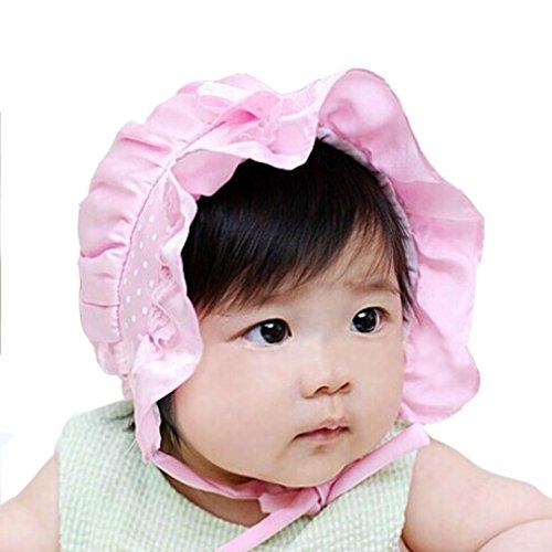 Bolayu Newborn Baby Polka Dots Beanie Hat Cap 2-12 Months (Pink) ()