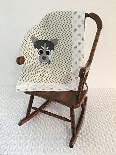 Small Dog Applique Zigzag Blanket