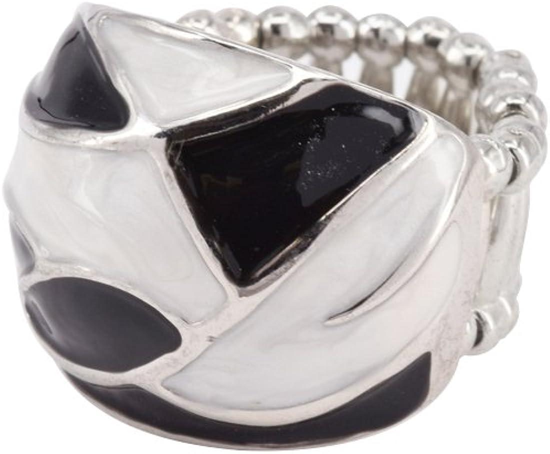 Bague Emaill/ée Noir et Blanc Fashion Ring CRAZYCHIC Bague Elastique Taille R/églable Ajustable Femme M/étal Argent Bijoux Fantaisie Mode Tendance