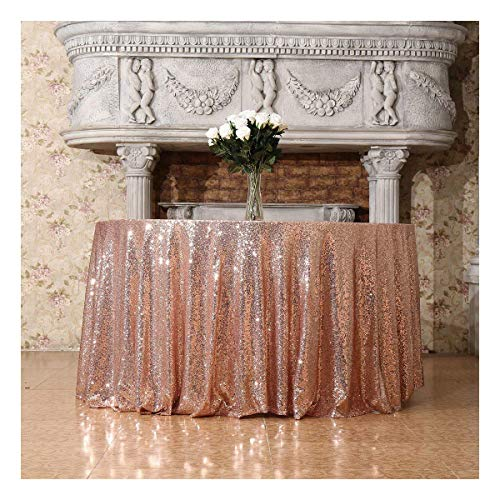 Poise3EHome 120-Inch Round Sequin Tablecloth for Party Cake Dessert Table Exhibition Events, Rose Gold