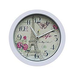 Alarm Clock for Student, Liu Nian Eiffel Tower Modern Silent Graceful Analog Quartz Digital Alarm Clock for Bedroom Living Room Desk (White)