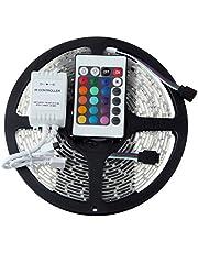 عدد 12 شريط اضاءة ليد 5 متر، 24 لون، وحدة تحكم بالأشعة تحت الحمراء، مقاوم للماء ، 60 مصباح ليد لكل متر