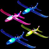 WATINC 4 pcs 13.5inch Airplane with Colorful Light Manual Foam Flying Glider Planes Throwing Fun Challenging Games Outdoor Sports Toy Model Airplanes Blue Orange Foam Aircraft for Boys Girls