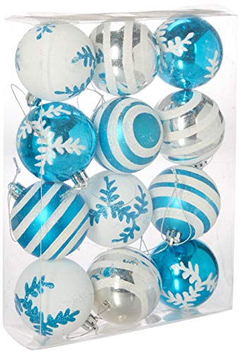- Queens of Christmas WL-ORN-12PK-SFLN-AQ Ball Ornament with Snowflake and Line Glitter Design, Aqua/White