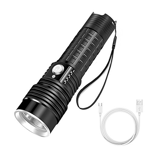 Ustellar Rechargeable Aluminum Tactical Flashlight, 1200 Lumens Super Bright CREE LED, IP65 Waterproof, 7hrs Long Lasting, 4 Light Modes Perfect for Camping, Hiking and Cycling, Battery Included