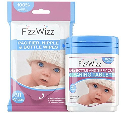 FizzWizz Natural Cleaning Tablets with Pacifier Wipes for Baby Bottles / Sippy Cups