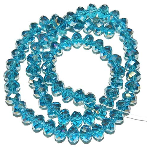 Dark Teal Blue AB 8mm Rondelle Faceted Cut Crystal Glass Beads 16#ID-2030