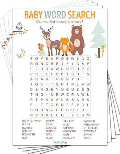 Baby Word Search Game Cards (Pack of 50) - Baby Shower Games Ideas for Boy or Girl - Party Activities Supplies - Woodland -