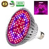 80W Led Grow Light Bulb, Plant Light Bulbs Full Spectrum for Indoor Plants Hydroponics Vegetables and Seedlings, Grow Bulb for Flowers Tobacco Garden Greenhouse and Organic Soil (E26 120LEDs)