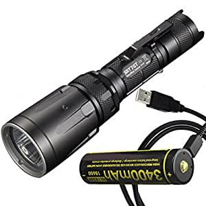 Nitecore SRT7GT Tactical Multi-LED Flashlight PLUS NL1834R 3400mAh Rechargeable 18650 Battery with Built-in Micro-USB Charge Port & LumenTac USB Cable