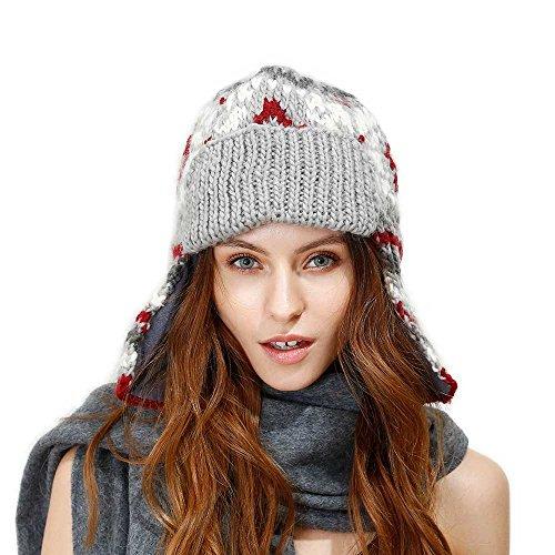 JULY SHEEP Winter Knitted Wool Trapper Hat With Fleece Lining Russian Ushanka Trooper hat