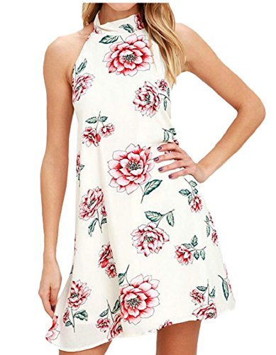 Dress Halter Backless Beach Neck Print Maweisong Floral Mini 1 Skater Women HqwF5z1