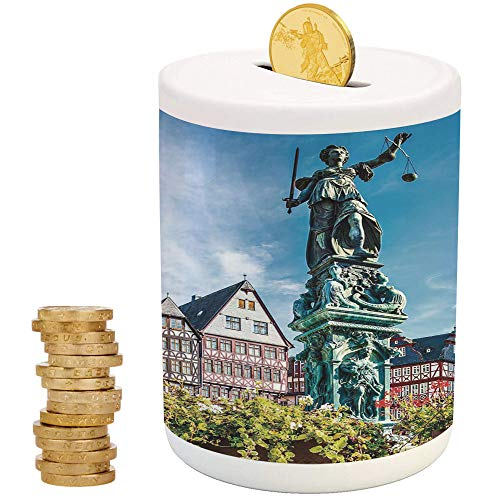 iPrint European,Ceramic Coin Bank,Top Slot Porcelain Nursery Décor Baby Bank,Old City of Frankfurt Germany with Historical Buildings Statue Cityscape Scenery Decorative