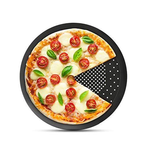 Pizza Pan with Holes, Segarty 10 inch Pizza Crisper Cooking Pan with Coating, Thickened Steel Pizza Tray for Oven, Round Perforated Baking Pan for Home & Restaurant Kitchen Cooking Tool