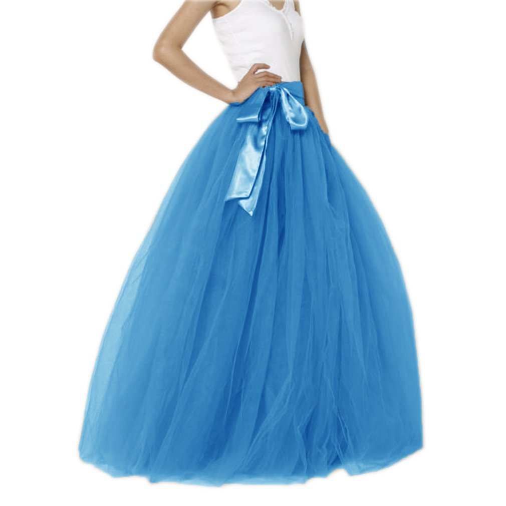 bluee1 Lisong Women Floor Length Bowknot 5Layered Tulle Party Evening Tutu Skirt