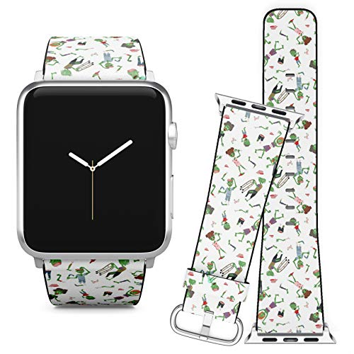 Compatible with Apple Watch (38/40 mm) // Leather Replacement Bracelet Strap Wristband + Adapters // Vecctor Zombie Cartoon Halloween Magic]()