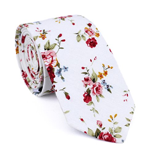 - DAZI Men's Skinny Tie Floral Print Cotton Necktie, Great for Weddings, Groom, Groomsmen, Missions, Dances, Gifts. (White Floral)