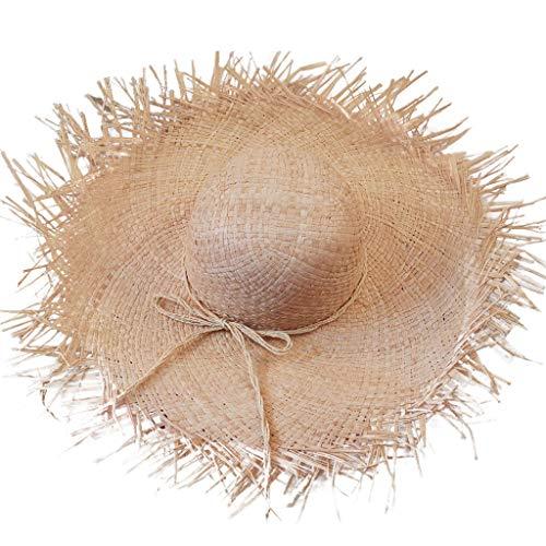 Tomppy Women's Beachcomber Straw Panama Hat Sun Protection Beach Party Vacation Wide Brim Fedora Caps (Beige) ()