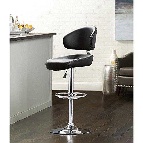Price comparison product image Modern Deluxe Round Foot Stand Bar Stool in Black