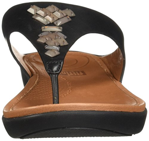 Sandal Leather Toe Women's Crystal Slide Black fitflop Banda Thong qFEx0