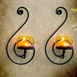 TiedRibbons® wall Sconce / T lights holder Pack of 2(Black, Metal) | diwali decoration items for home | tealight hanging | diwali tea lights | corporate gifts for diwali