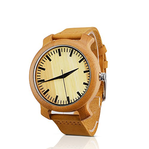 Bymax Men's Bamboo Wooden Quartz Watch with Brown Leather Strap and Japanese - Store Sunglass Near Me