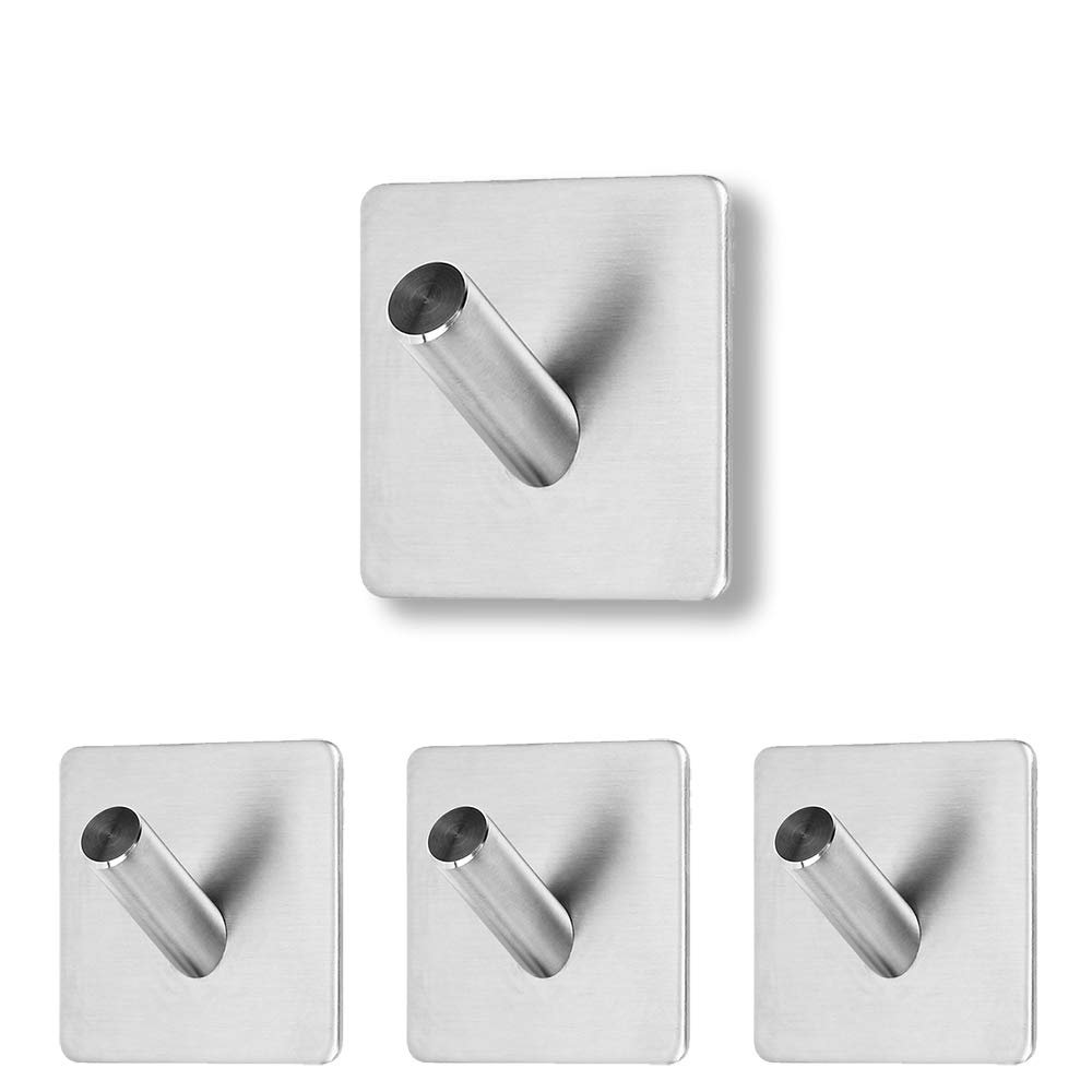 VircleK 4-Pack Adhesive Hooks Heavy Duty Wall Hooks Waterproof Stainless Steel Hooks for Home, Kitchen, Bathroom Organizer & Bath Towels, Washcloths, Swimsuits, Keys, Bags