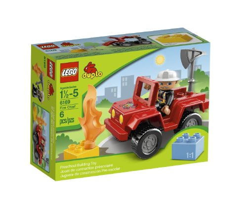Ville Fire Chief with Duplo Figure, Fire Chief Truck, Flame & Duplo Brick