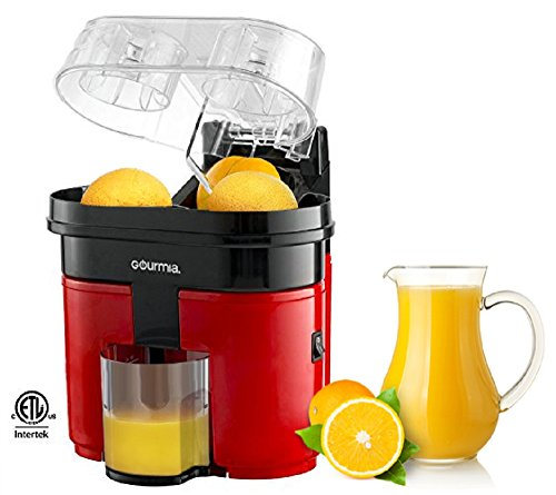 Gourmia GCJ200 Electric Citrus Juicer Machine- Double Fruit Capacity- Built In Slicer and Pulp Separator - Powerful 90 Watts Motor- ETL Certified,110v