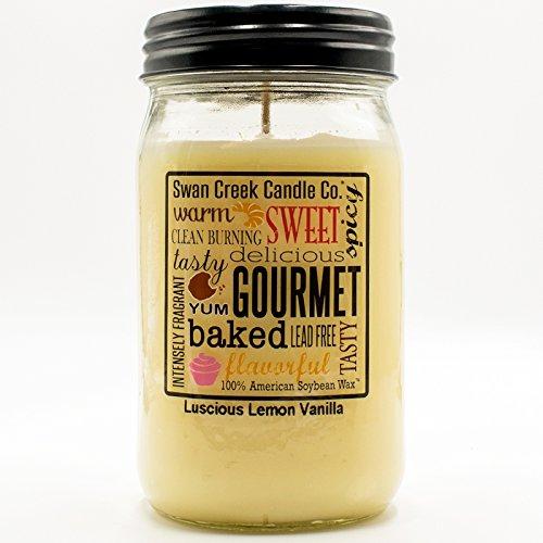 Swan Creek Luscious Lemon Vanilla 24 oz Kitchen Pantry Jar Candle
