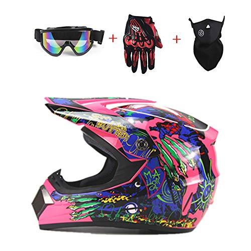 Shfmx Adult Motocross Motorcycle Helmet and Adult MX Motocross (Gloves, Goggles, Mask, 4 Piece Set, Pink,M (Womens Motocross Helmet)