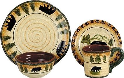 HiEnd Accents Bear Lodge Dinnerware Set  sc 1 st  Amazon.com & Amazon.com: HiEnd Accents Bear Lodge Dinnerware Set: Home \u0026 Kitchen