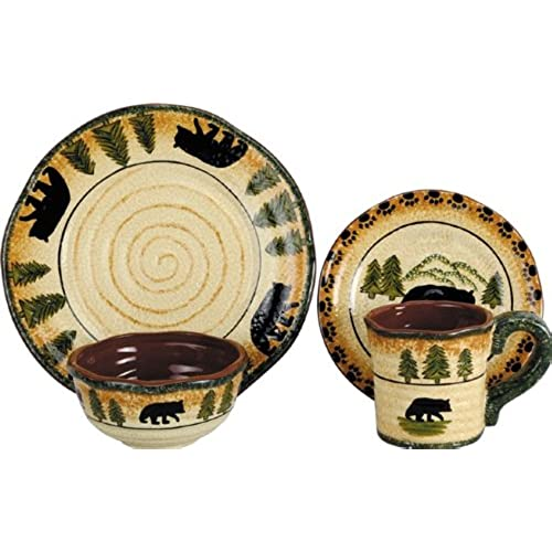 HiEnd Accents Bear Lodge Dinnerware Set  sc 1 st  Amazon.com & Cabin Dishes: Amazon.com