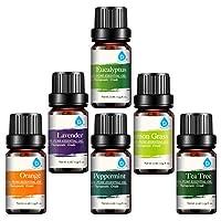 Pursonic 100% Pure Essential Aromatherapy Oils Gift Set-6 Pack, 10ML (Eucalipto, Lavanda, Hierba de limón, Naranja, Menta, Árbol de té)