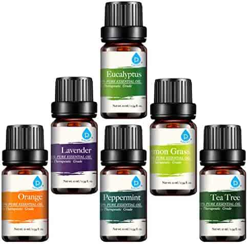Pursonic 100% Pure Essential Aromatherapy Oils Gift Set-6 Pack, 10ML(Eucalyptus, Lavender, Lemon Grass, Orange, Peppermint, Tea Tree)