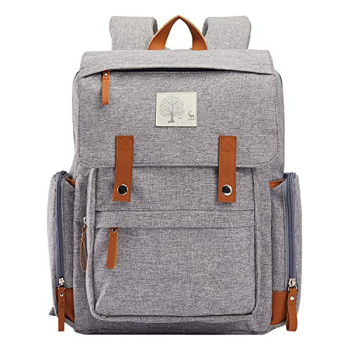 Diaper Bag Women Backpack Frank Mully Large Diaper Bag Backpack with Insulated Pockets, Stroller Straps and Changing Pad Diaper Bag for Mom, Girl, Boy (Gray)