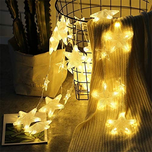 Lichterkette Außenled Sternenvorhang String String Licht, Fairy Light Fairy Lampe, Girlande Weihnachten Hochzeit Schlafzimmer Fairy Star Eiszapfen Vorhang Licht Warmweiß, 3,5 M