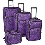 U.S. Traveler Fashion Zebra 4 Piece Spinner Set (Purple Zebra), Bags Central