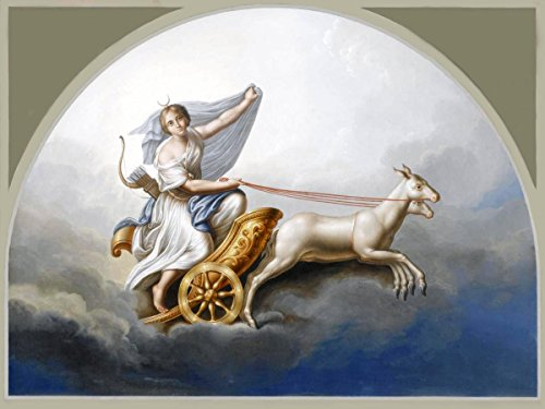 Diana in HER Chariot by Italian School 19th Century Goddess Animal Sky Accent Tile Mural Kitchen Bathroom Wall Backsplash Behind Stove Range Sink Splashback One Tile 8