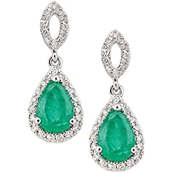 Revoni 18K White Gold Emerald and Diamond Oval Dangle Earrings