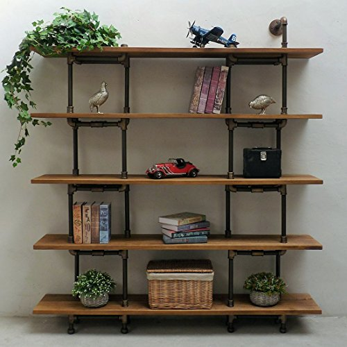 Eugene Modern Industrial 71-Inch Tall x 64-Inch Wide Large Storage 5-Shelf Pipe Bookcase Etagere Metal and Reclaimed Aged Finish with Sustainable Solid Wood (Light Brown Stained Wood)