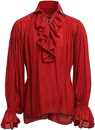 foreverH FORH - Camisa de Manga Larga para Hombre, Estilo Medieval, Estilo gótico, Estilo Victoriano, con Cordones