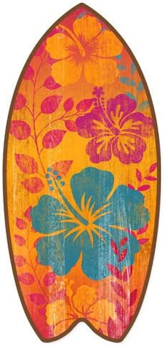 Tropical Hibiscus Mini Surfboard Weathered Beach Home D/écor Accent 11
