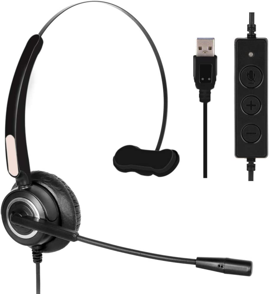 Computer USB Headset, Call Center Headset with Microphone Noise Cancelling, Wired Business Headset for Skype/PC/Laptop/Mac, Business Black
