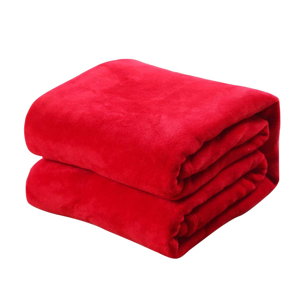 Vosarea Reine Farbe Flanell Fleece Decke Couch Einfarbig Bettdecke Blatt 100x140cm (Rot)