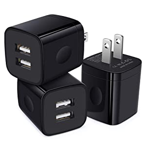 USB Wall Charger, Charging Cube, GiGreen 3 Pack Dual Port 2.1A USB Plug Adapter Charging Block Compatible iPhone XS 8 7 6S, Samsung Galaxy S10+ S9+ S8 S6 Edge, LG G8 G7 G6 V35 V40 ThinQ, Moto G6 Z3