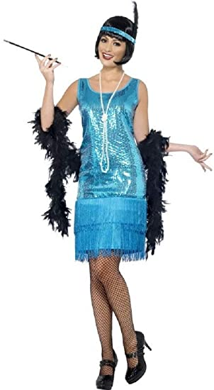 eb168dfc312 Ladies 1920s 30s Teal Blue Sequinned Fringed Flapper Charleston Great Gatsby  Fancy Dress Costume Outfit UK 8-22 Plus Size  Amazon.co.uk  Clothing