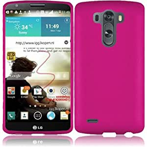 Rubberized Plastic Hot Pink Hard Cover Snap On Case For LG G3 (Accessorys4Less)