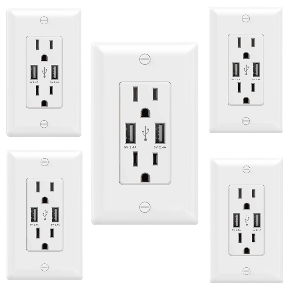 Smart High Speed 24a 5v Dual Usb Charger Outlet 15 Amp Home Electrical Wiring Diagrams Most Receptacles 125v Receptacle Wall Socket Plate Improvement